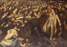 The crowd shouts abuse at Zola in 1898 © Musée Émile Zola