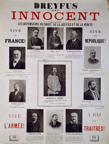 Poster proclaiming Dreyfus's innocence and showing his eleven main supporters © MAHJ