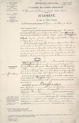 Dreyfus's sentence by the first Paris court martial © Centre historique des archives nationales