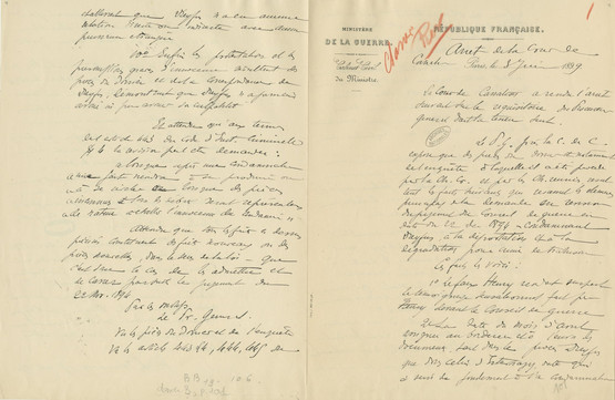 Draft pages of the overturning of Dreyfus's first conviction © CHAN - page 1