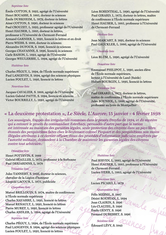 Panel listing the names of alumni of the Ecole Normale Supérieure in either