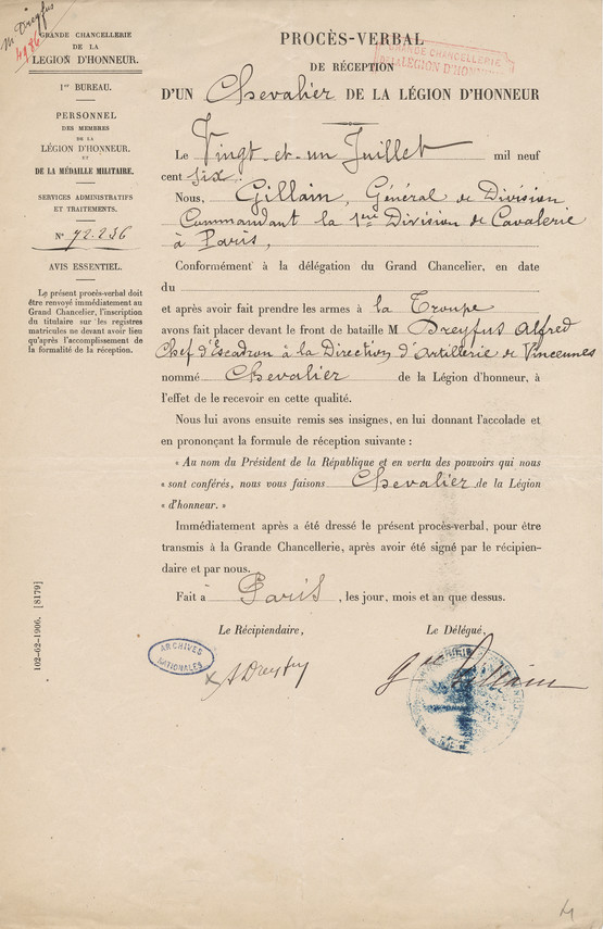 Minutes of the induction of Dreyfus into the Legion of Honor © CHAN - page 1